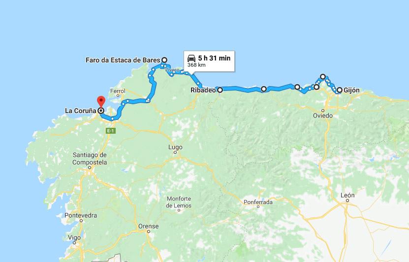 Ruta Autocaravana Gijón a La Coruña